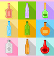 bottle forms icons set flat style vector image vector image