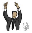 businessman showing two thumbs up over his head vector image vector image