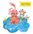 cartoon night scene with cute rabbit vector image vector image