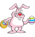 Cartoon rabbit holding a basket and an Easter egg vector image vector image