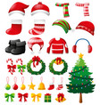 christmas set with ornaments and clothes vector image