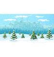 christmas winter cityscape snowflakes and trees vector image