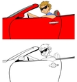 Cool Guy in Convertible vector image
