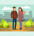 couple man and woman walking in autumn city park vector image vector image