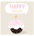 Cute cupcake with happy birthday wish Greeting vector image vector image