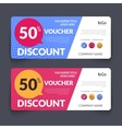 discount voucher design template with colorful vector image vector image