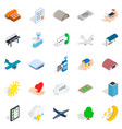 flight icons set isometric style vector image vector image