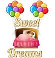 girl sleeping in bed vector image vector image