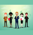 group of business people standing in front of city vector image