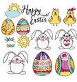 hand drawn set of easter design elements perfect vector image