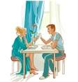 Happy family at table in the morning vector image