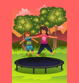 happy kids playing on a trampoline vector image