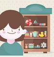 happy little boy and wooden shelf toys vector image vector image