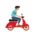 hipster young man with glasses rides a motorbike vector image