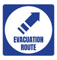 hurricane evacuation route road sign blue square vector image vector image