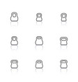 Icons kettlebells of thin lines