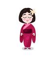 little girl wearing kimono traditional costume of vector image