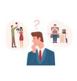 man dressed in business suit choosing between vector image