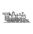 old steam locomotive transport sketch engraving vector image vector image