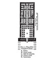 plan of the temple of chons khonsu vintage vector image vector image
