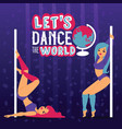 pole dance school advertising poster with women vector image