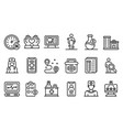 Private clinic icons set outline style