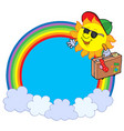 rainbow circle with sun traveller vector image