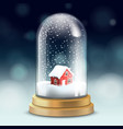 realistic crystal ball or tall flask with snow vector image vector image