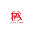 red fa initial letter logo vector image vector image