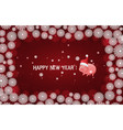 red new year background with white snowflakes and vector image