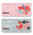 seafood and fish set banners vector image vector image