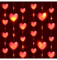 Seamless glass beads and hearts on black vector image vector image