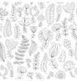 Seamless pattern black and white doodle flowers vector image vector image