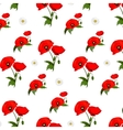 seamless pattern with chamomile and poppies vector image vector image