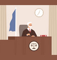 serious court judge sitting at bench listening vector image
