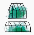 set home greenhouse with green watercolor vector image vector image