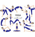 set of 13 yoga poses the girl practicing yoga vector image