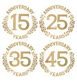 set of golden anniversary emblems vector image