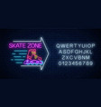 skate zone glowing neon sign with guide arrow and vector image vector image