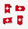 swiss flag stickers and labels vector image vector image