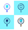 tooth medical research icon set in flat and line vector image vector image