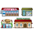 Various shops and a train station vector image vector image
