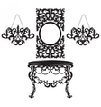 Vintage Baroque Dressing Table and Mirror set vector image vector image