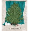 Vintage Christmas card with Christmas tree vector image vector image