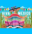 viva mexico mexican man sombrero and serape vector image vector image