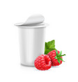 yogurt package with raspberry icon vector image vector image