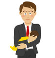young father in business suit holding baby vector image vector image