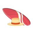 surfboard and hat icon vector image