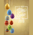 background with hanging on ribbons easter eggs vector image vector image