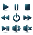 Black plastic navigation symbols set vector image